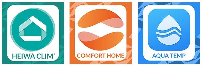 logo heiwa clim et comforthome et Aqua Temp
