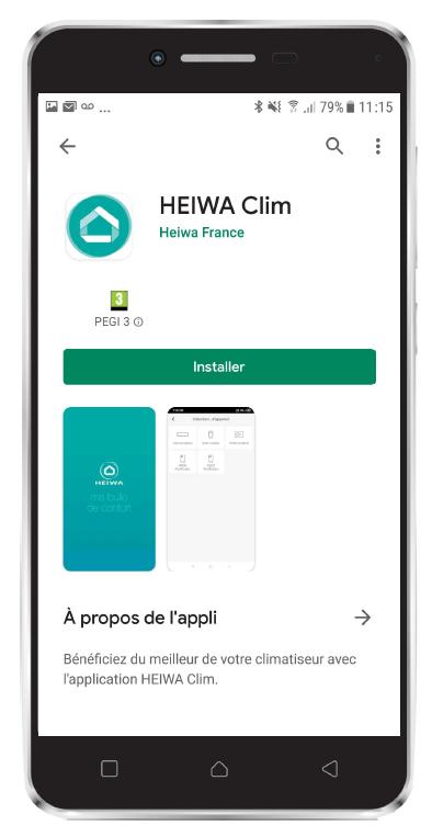 Visuel Android avec Application Heiwa Clim