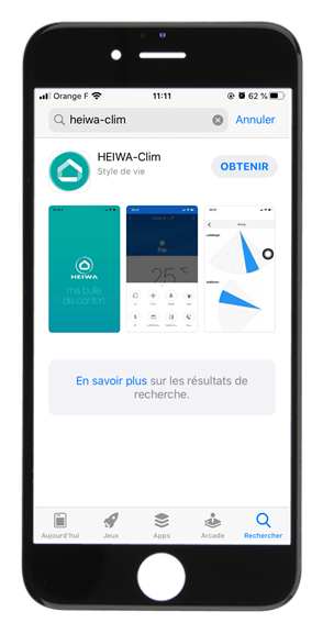Visuel Iphone avec Application Heiwa Clim