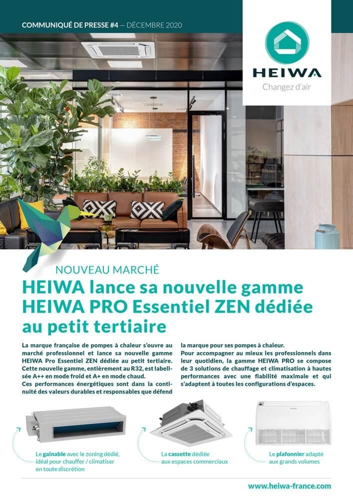 page de couverture communiqué de presse gamme petit tertiaire heiwa