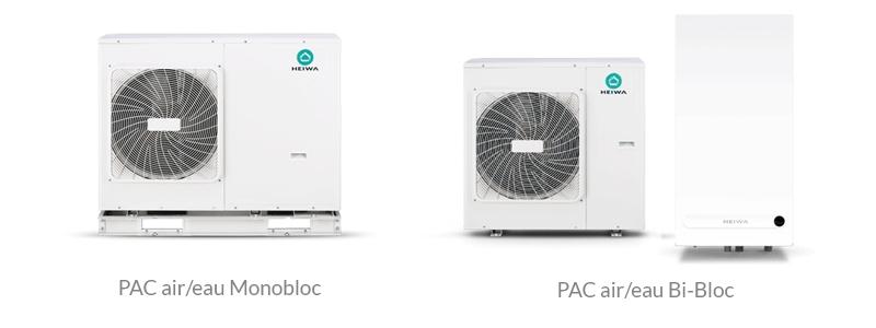 PAC air/eau monobloc & bi-bloc Heiwa