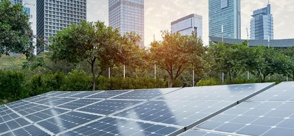 Terrain avec panneaux photovoltaiques