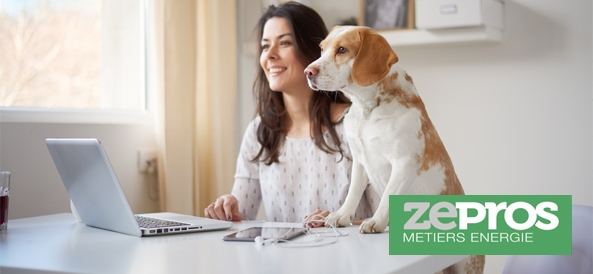 femme avec son chien qui regarde un ordinateur