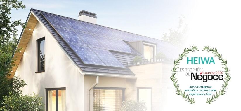 """maison avec panneaux solaire et picto """"Heiwa Lauréat les Trophées du Négoce 2020"""""""