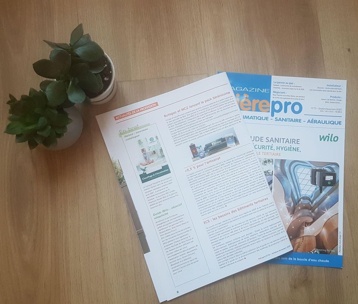 article de presse filiaire pro magazine sur le nouveau catalogue heiwa